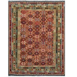 Herat Oriental Afghan Hand-woven Tribal Kilim Beige/ Green Wool Rug (9'10 x 12'8)