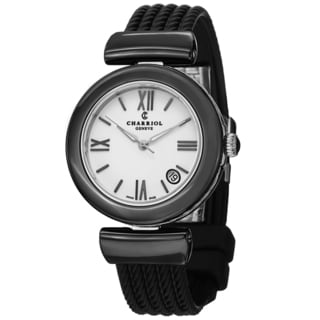 Charriol Women's AE33CB.565.004 'AEL' White Dial Black Rubber Strap Ceramic Quartz Watch