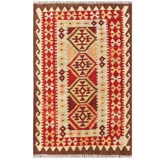 Herat Oriental Afghan Hand-woven Tribal Wool Kilim (3'1 x 4'10)