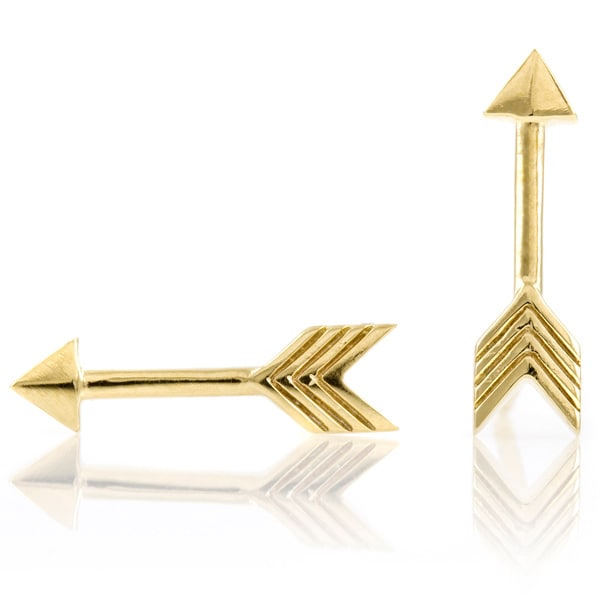 Goldtone Sterling Silver Arrow Earrings (Comparable To th...