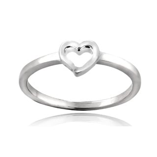 Mondevio Sterling Silver Heart Polished Band Promise Ring