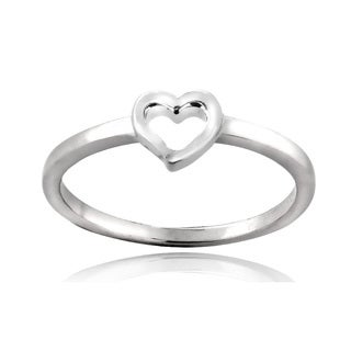Mondevio Sterling Silver Heart Polished Band Ring