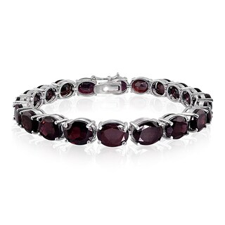 Glitzy Rocks Sterling Silver Bold Garnet Bracelet