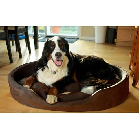 FurHaven Snuggle Terry and Suede Oval Bolster Pet Bed