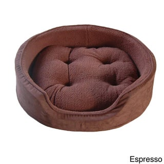 Furhaven Snuggle Terry and Suede Oval Bolster Pet Bed (More options available)