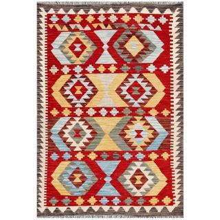 Herat Oriental Afghan Hand-woven Tribal Wool Kilim (3'4 x 4'11)