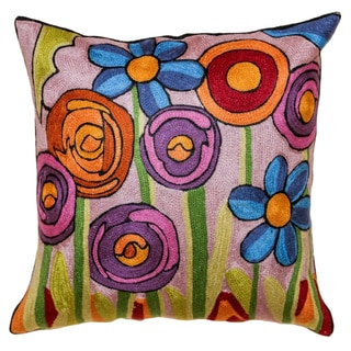 Handmade New Flower Wool and Cotton Square Accent Pillow Cover (India)