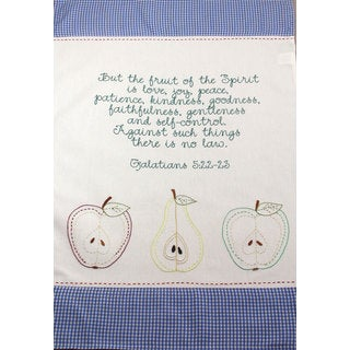 Set of 2 'Fruit of the Spirit' Embroidered Cotton Kitchen Towels (India)
