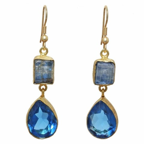 Handmade Kyanite Rough Gold Overlay Blue Hydro Glass Earrings (India)