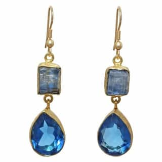 Sitara Collections Kyanite Rough Gold Overlay Gemstone and Blue Hydro Glass Earrings (India)|https://ak1.ostkcdn.com/images/products/9915028/P17072826.jpg?impolicy=medium