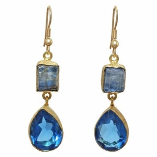 Handmade Kyanite Rough Gold Overlay Blue Hydro Glass Earrings (India)