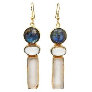 Link to Handmade Gold Overlay Labradorite & Fluorite Earrings (India) Similar Items in Earrings