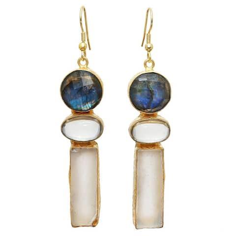 Handmade Gold Overlay Labradorite & Fluorite Earrings (India)