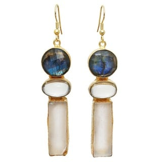 Goldplated Labradorite and Fluorite Rough Gemstone Dangle Earrings (India)