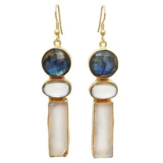 Handmade Gold Overlay Labradorite and Fluorite Rough Gemstone Dangle Earrings (India)