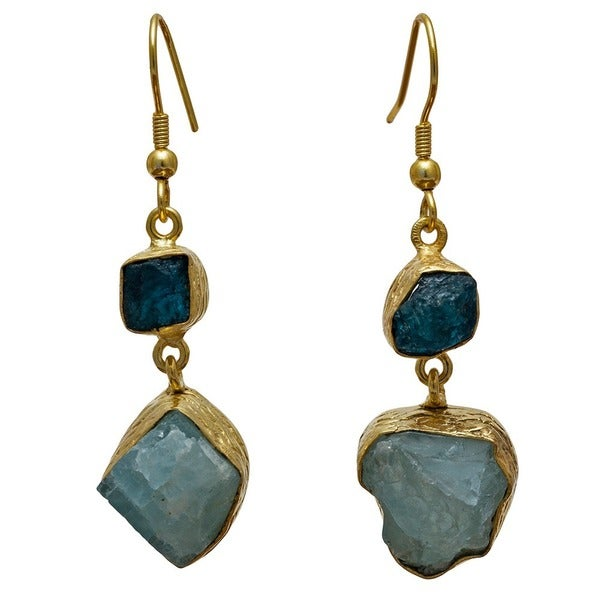 Handmade Gold Overlay Apatite and Aqua Rough Earrings (India) - Blue. Opens flyout.