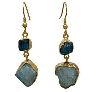 Sitara Collections Goldplated Apatite and Aqua Rough Gemstone Earrings (India)