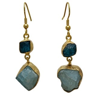 Handmade Sitara Collections Gold Overlay Apatite and Aqua Rough Gemstone Earrings (India)