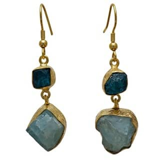 Handmade Sitara Collections Gold Overlay Apatite and Aqua Rough Gemstone Earrings (India)|https://ak1.ostkcdn.com/images/products/9915031/P17072829.jpg?impolicy=medium