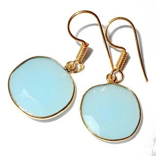 Handmade Gold Overlay Aqua Chalcedony Glass Dangle Earrings (India)