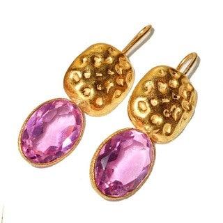 Handmade Gold Overlay Pink Cubic Zirconia Dangle Earrings (India)