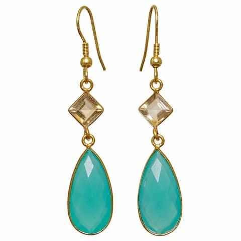 Handmade Gold Overlay Aqua Glass Dangle Earrings (India) - Baby Blue