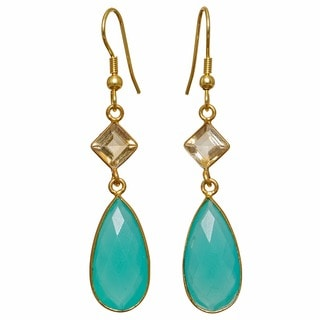 Sitara Collections Goldplated Aqua Hydro Glass Dangle Earrings (India)