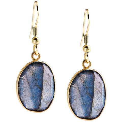 Handmade Gold Overlay Labradorite Gemstone Earrings (India) - Brown