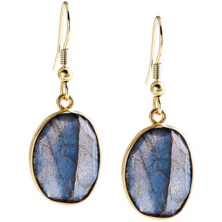 Handmade Gold Overlay Labradorite Gemstone Earrings (India) - Brown
