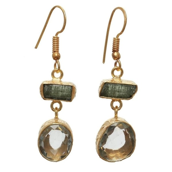 Handmade Gold Overlay Green Amethyst and Tourmaline Earrings (India). Opens flyout.