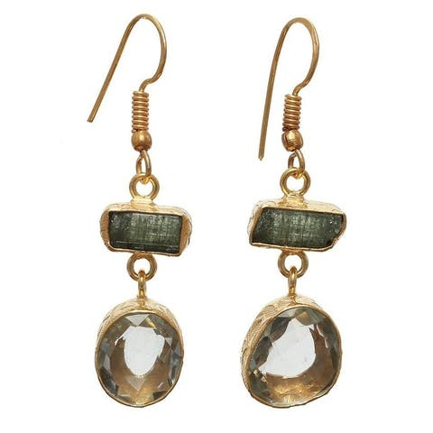 Handmade Gold Overlay Green Amethyst and Tourmaline Earrings (India)