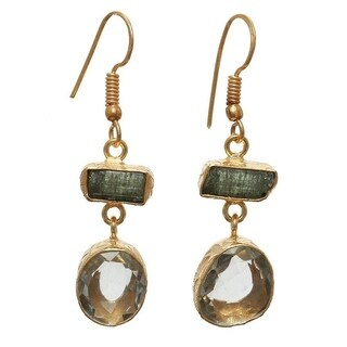 Sitara Collections Gold Overlay Green Amethyst and Rough Tourmaline Gemstone Earrings (India)