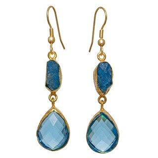 Gold Overlay Blue Glass Rough Gemstone Earrings (India) - n/a