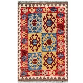 Herat Oriental Afghan Hand-woven Tribal Kilim Navy/ Red Wool Rug (2'11 x 4'6)