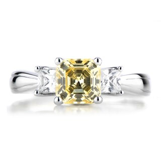 Sterling Silver Three Stone Asscher Cut Canary Cubic Zirconia Engagement Ring