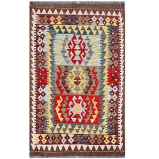 Handmade One-of-a-Kind Wool Kilim (Afghanistan) - 3'2 x 5'1