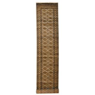 Herat Oriental Pakistan Hand-knotted Tribal Bokhara Grey/ Gold Wool Rug (2'8 x 15')