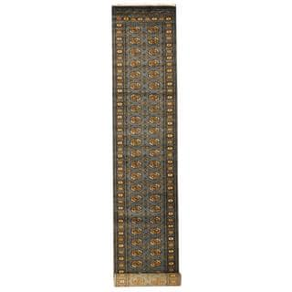 Herat Oriental Pakistan Hand-knotted Tribal Bokhara Grey/ Gold Wool Rug (2'8 x 16')