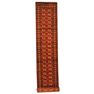Herat Oriental Pakistan Hand-knotted Tribal Bokhara Red/ Ivory Wool Rug (2'8 x 15)