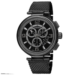 Akribos XXIV Men's Swiss Quartz Chronograph Stainless Steel Mesh Black Bracelet Watch