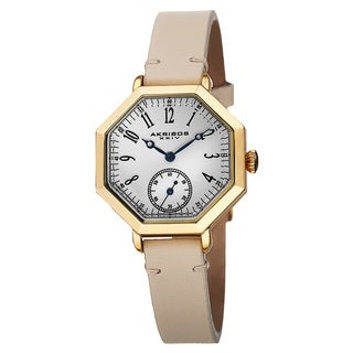 Akribos XXIV Women's Quartz Octagon Case Leather Strap Watch