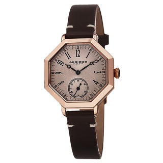 Akribos XXIV Women's Quartz Octagon Case Leather Rose-Tone Strap Watch