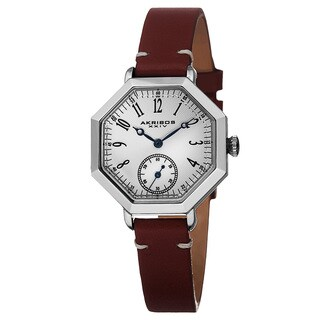 Akribos XXIV Women's Quartz Octagon Case Leather Red Strap Watch