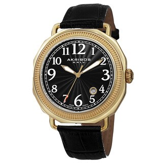 Akribos XXIV Men's Swiss Quartz Date Arabic Numeral Markers Leather Gold-Tone Strap Watch