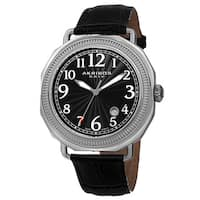 Akribos XXIV Men's Swiss Quartz Date Arabic Numeral Markers Leather Silver-Tone Strap Watch