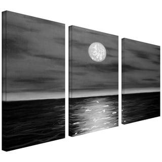 Jim Morana 'Moon Rising' 3-piece Gallery-wrapped Canvas