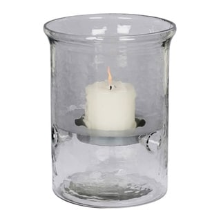 Small Hammered Glass Candle Holder, Silver Insert