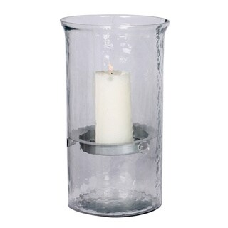 Large Hammered Glass Candle Holder, Silver Insert