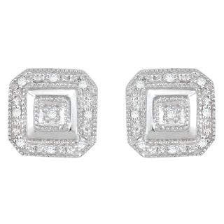Divina Sterling Silver 1/10ct TDW Diamond Square Earrings (H-I, I3)