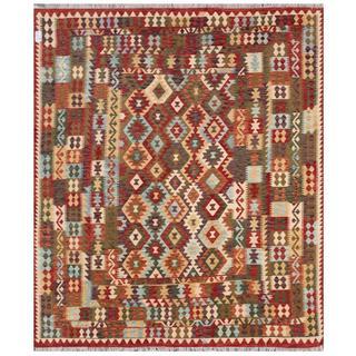 Herat Oriental Afghan Hand-woven Tribal Kilim Beige/ Red Wool Rug (8'2 x 9'7)
